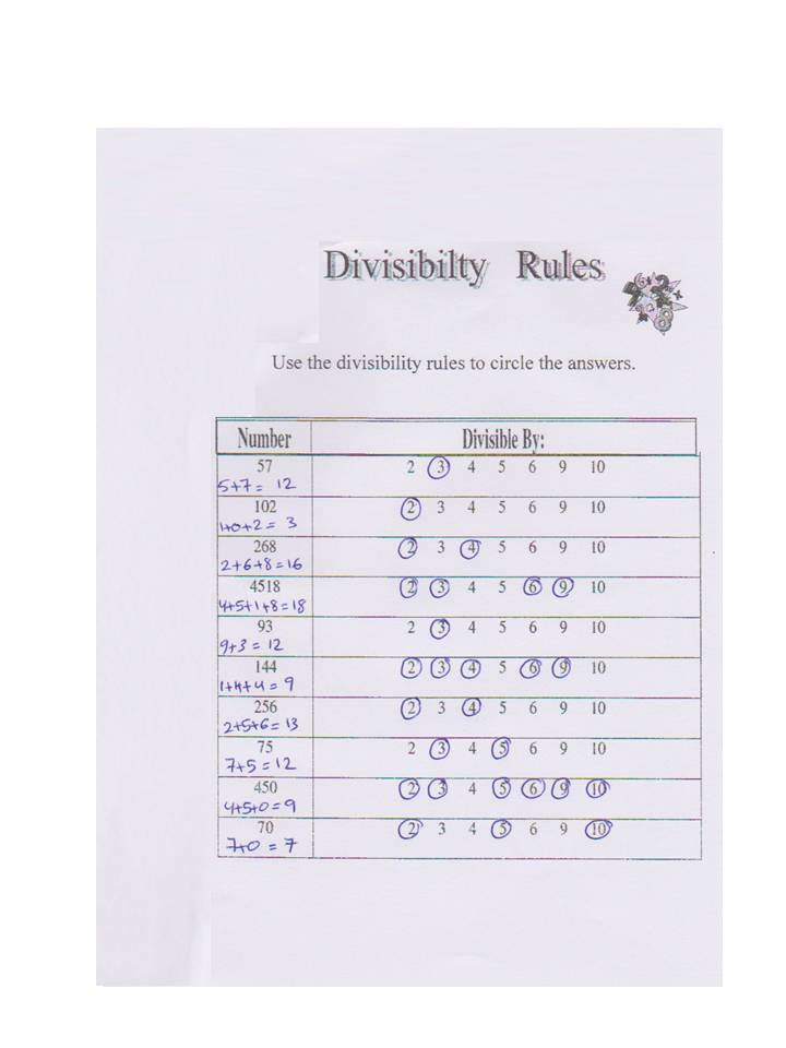 Homework help divisibility – Divisibility Rules Worksheet for 5th Grade